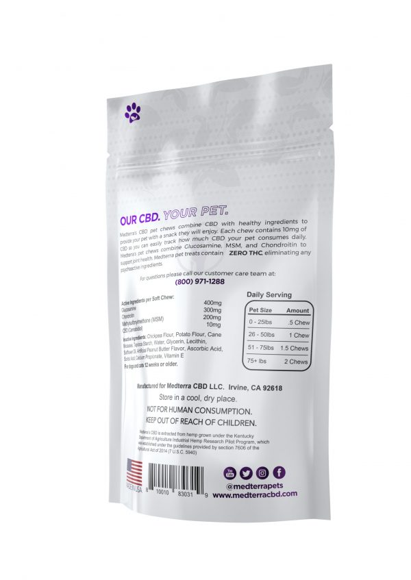 Medterra Pets CBD Joint Support Soft Chews Peanut Butter Flavor Active Ingredients per Soft Chew